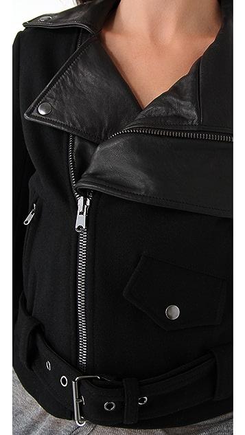 Donna Karan Casual Luxe Felt & Leather Jacket