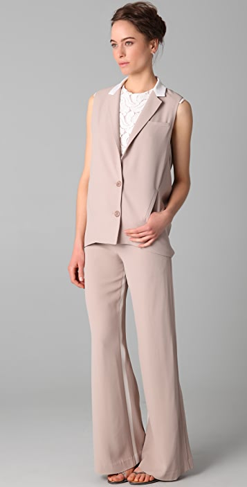 Doo.Ri Vest with Draped Back and Contrast Collar