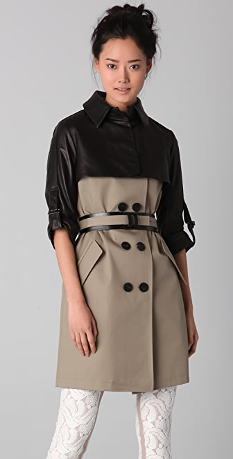 Doo.Ri Trench Coat with Belt and Cropped Overlay