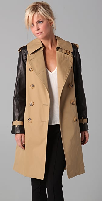 Dover Trench Coat with Leather Sleeves | SHOPBOP