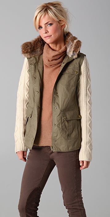 Dover Army Jacket with Fur Collar