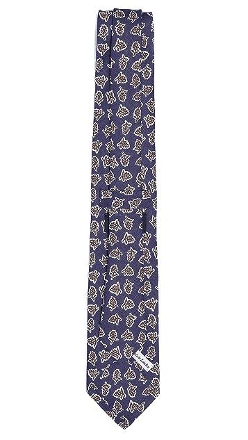 Drake's Leaf Print Tie