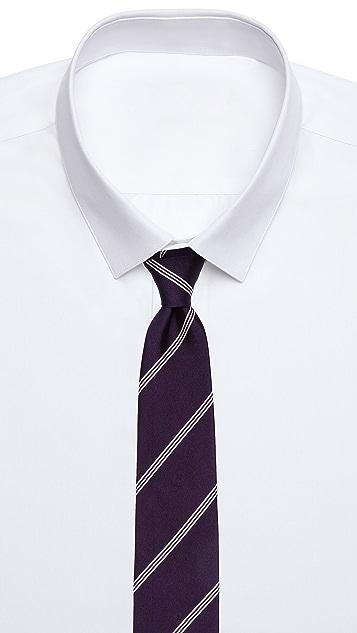 Drake's Striped Woven Tie