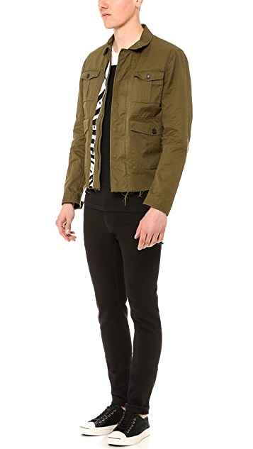 DSQUARED2 Twill Leather Jacket with Zebra Haircalf