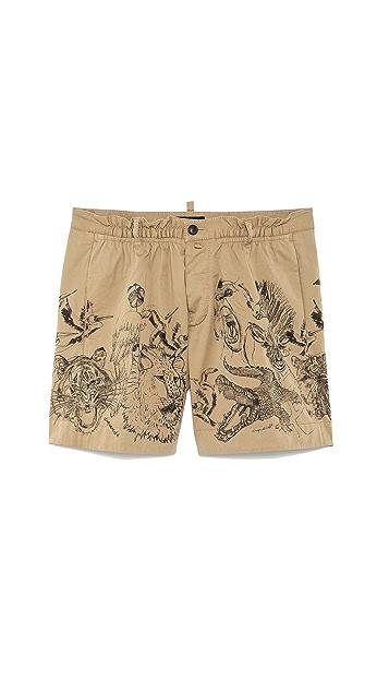 DSQUARED2 Stretch Drill Cotton Shorts