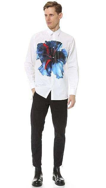DSQUARED2 Blue Hibiscus Trapeze Shirt