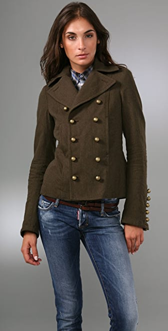 DSQUARED2 Simple Double Breasted Pea Coat