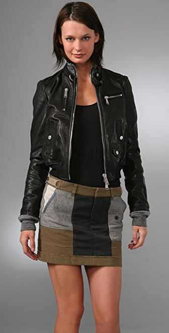 DSQUARED2 Leather Double Edge Aviator Jacket
