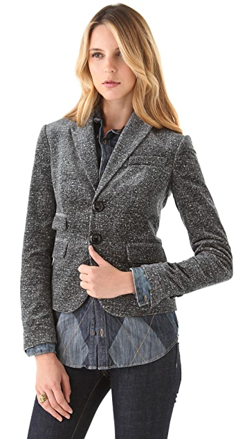 DSQUARED2 Unconstructed Velvet Tweed Blazer
