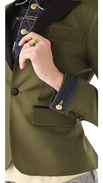 DSQUARED2 Siamese Tux Blazer with Denim Inset