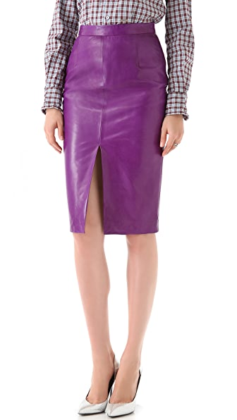 DSQUARED2 Pamela Grass Simple Leather Skirt