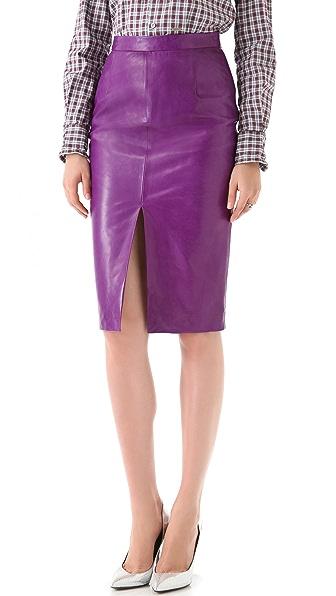DSQUARED2 Pamela Grass Simple Leather Skirt