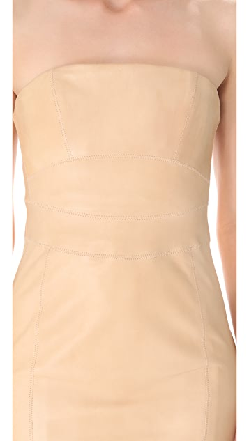 DSQUARED2 Leather Strapless Dress