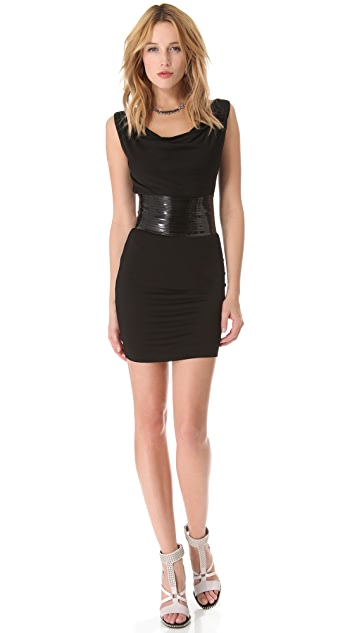 DSQUARED2 Draped Jersey Dress with Patent Belt