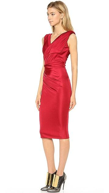 DSQUARED2 Asymmetrical Shoulder Cross Front Dress