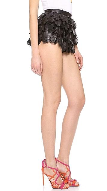 DSQUARED2 Leather Ruffle Mini Shorts