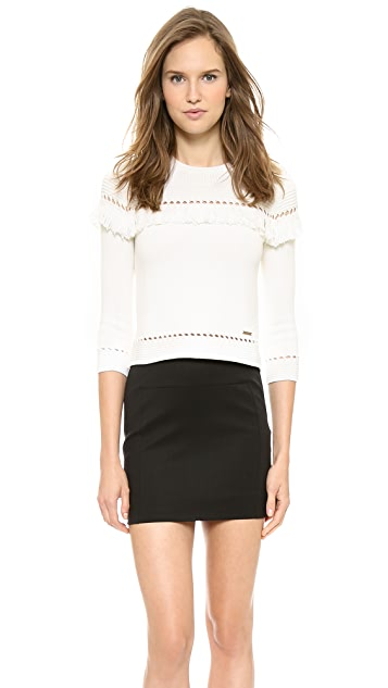 DSQUARED2 Fringed Pointelle Sweater