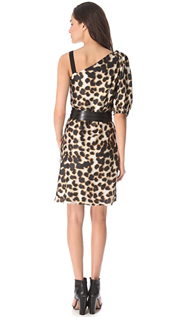 David Szeto One Shoulder Leopard Dress