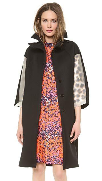 David Szeto Perf Neoprene Coat with Vinyl Sleeves