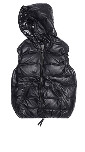 Duvetica Aristeotre Leather Puffer Vest with Hood