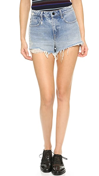 Denim x Alexander Wang Bite High Rise Frayed Shorts - Bleach