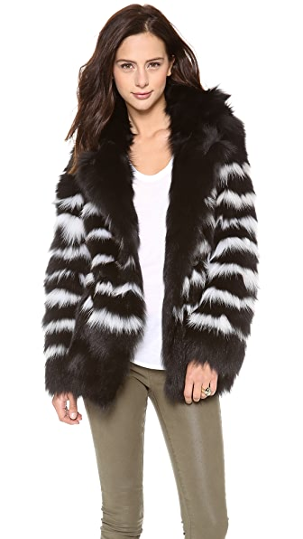 EACH x OTHER Naco Striped Fox Fur Jacket