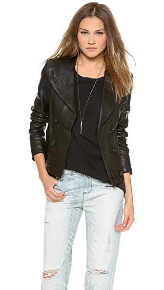 EACH x OTHER Leather Crop Pea Coat