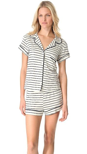 Eberjey Coastal Stripes Shorty PJ Set
