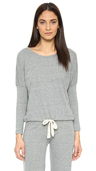 Eberjey Heather Slouchy Pajama Top - Grey Heather