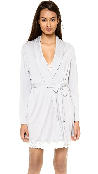 Eberjey Lady Godiva Robe - Slate/Off White