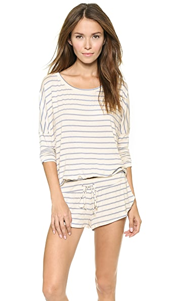 Eberjey Lounge Stripes Slouchy Top