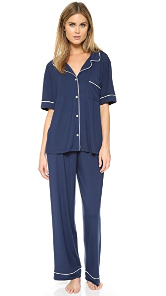 Eberjey Gisele Short Sleeve PJ Set In Navy/Ivory