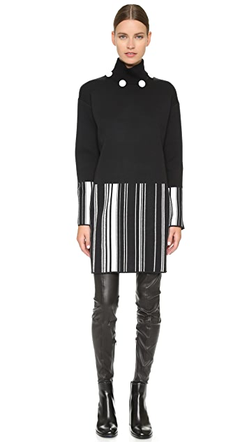 EDUN Striped Turtleneck Dress