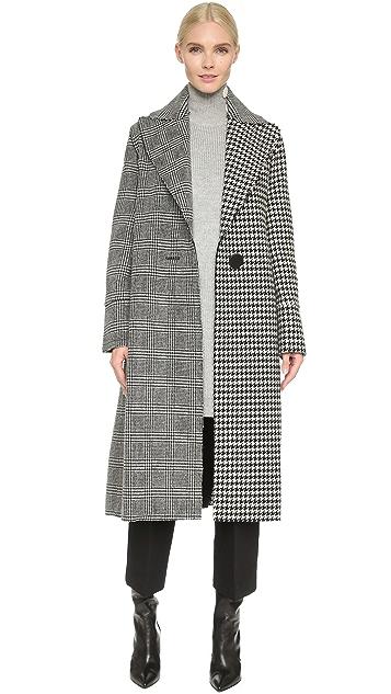 EDUN Raw Edge Plaid Coat