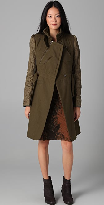 EDUN Belted Trench Coat with Quilted Sleeves