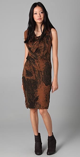 EDUN Lace Print Wrap Draped Fringe Dress