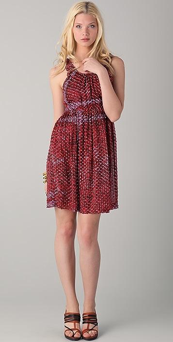 EDUN Wrinkle Print Ruffle Dress