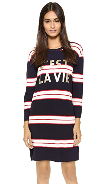 Shop ENGLISH FACTORY online and buy English Factory Cest La Vie Dress Navy-Red-White dresses online