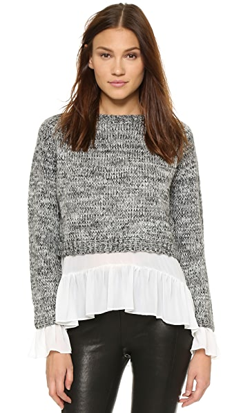 ENGLISH FACTORY Layered Flounce Sweater