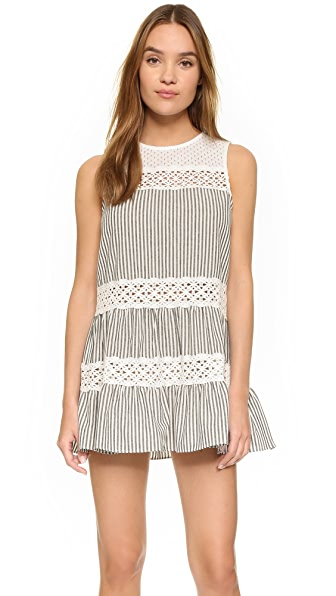 ENGLISH FACTORY Eyelet Stripe Mini Dress