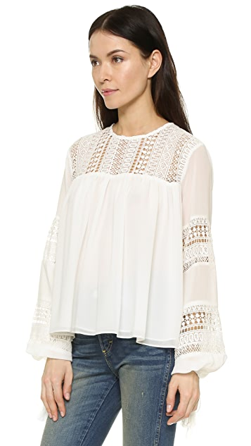 ENGLISH FACTORY Lace Tassel Blouse