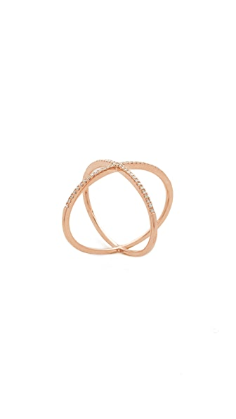 EF Collection Pave Rose Gold Diamond X Ring