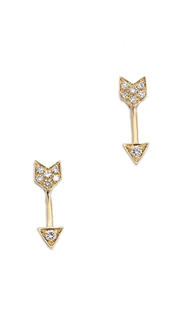 EF Collection 14k Gold Diamond Mini Arrow Stud Earrings