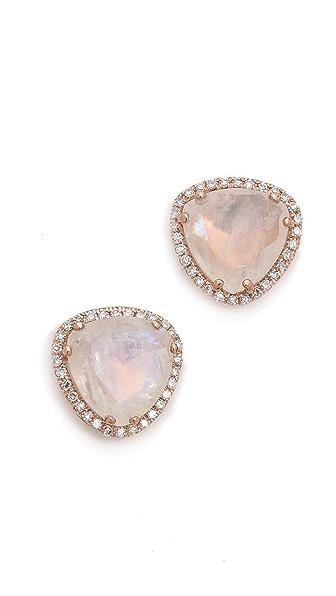 EF Collection Diamond Stone Slice Stud Earrings