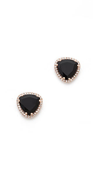 EF Collection Diamond Stone Slice Stud Earrings