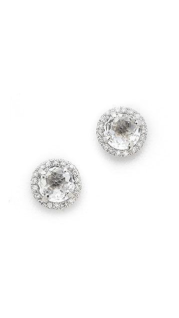 EF Collection 14k Gold Diamond White Topaz Stud Earrings