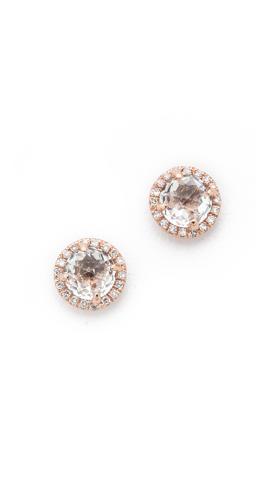 EF Collection Diamond White Topaz Stud Earrings - Clear/Rose Gold