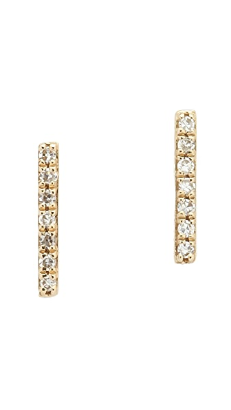 EF Collection 14k Gold Diamond Bar Stud Earrings