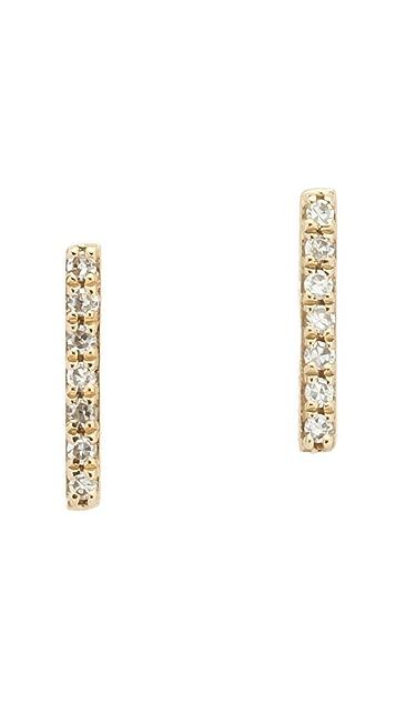 EF Collection 14k Gold Diamond Bar Stud Earrings