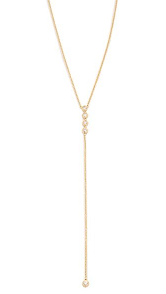 EF Collection 14k Gold Diamond 5 Bezel Lariat Necklace - Gold/Clear
